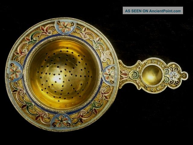 Antique Russian Silver 84 Cloisonne Shaded Enamel Tea Strainer By 11th Artel Russia photo