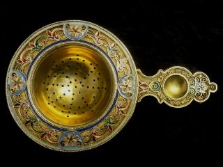 Antique Russian Silver 84 Cloisonne Shaded Enamel Tea Strainer By 11th Artel photo