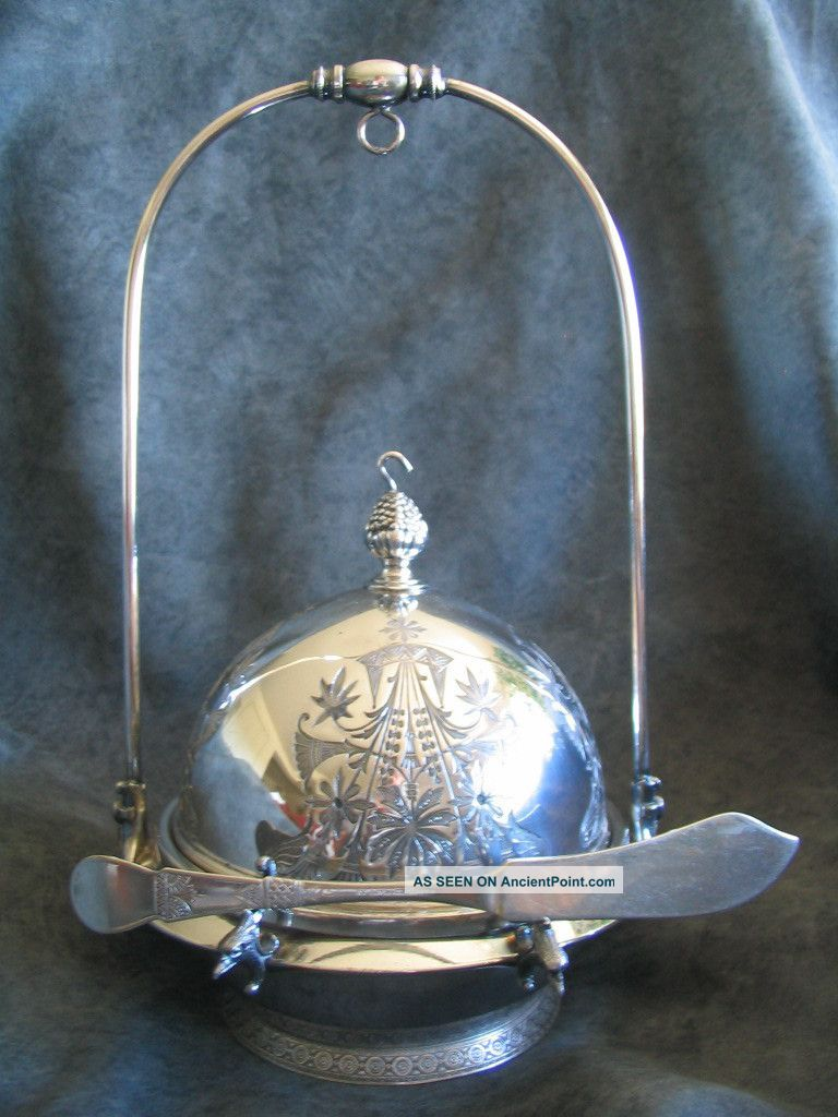 Meriden Silver Plate Co.  - Quadruple Silverplate Covered Butter Dish - Aesthetic Butter Dishes photo