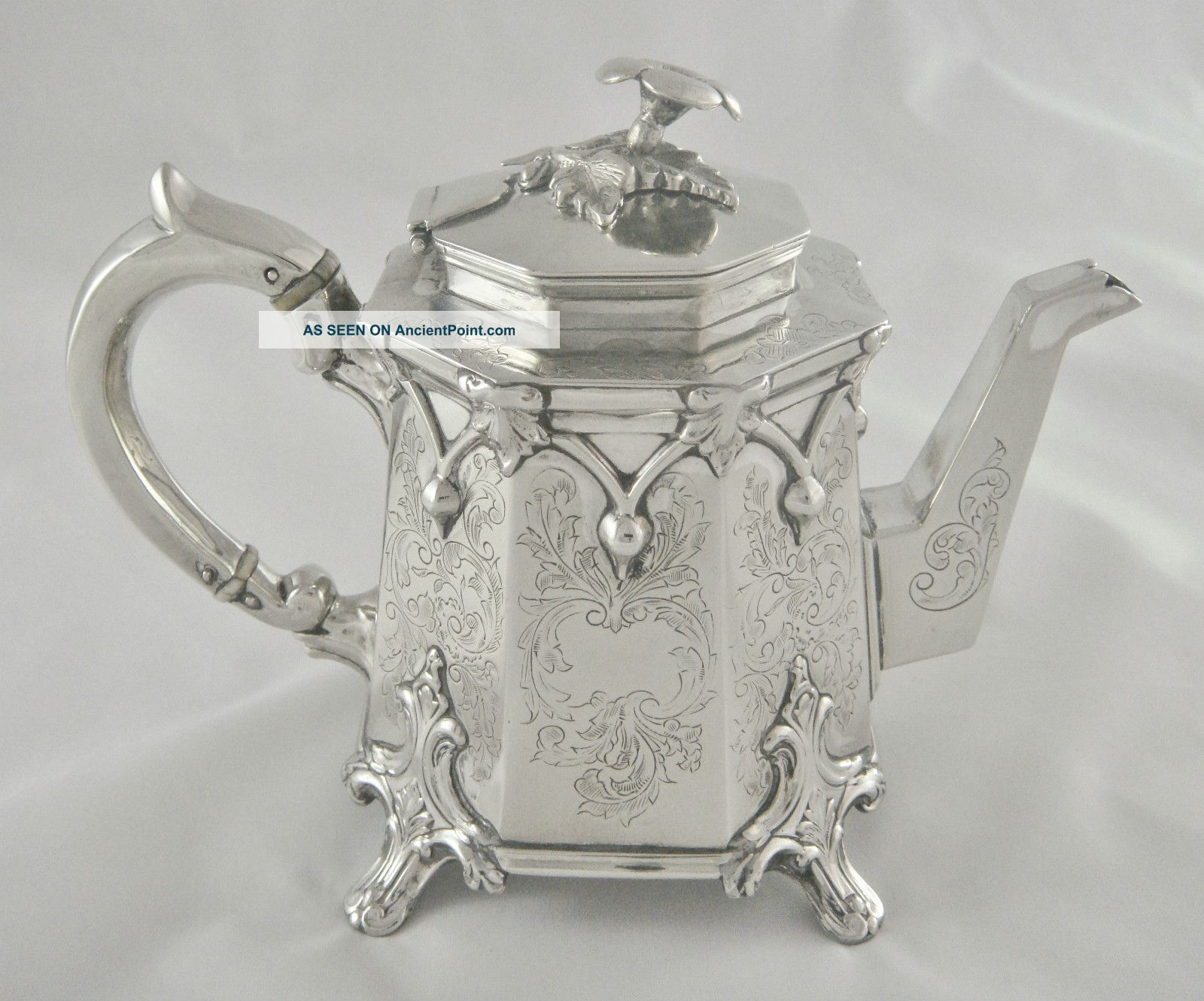 Very Unusual Antique Vintage Ornate Octagonal Silver Plated Tea Pot Tea/Coffee Pots & Sets photo