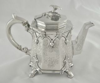Very Unusual Antique Vintage Ornate Octagonal Silver Plated Tea Pot photo