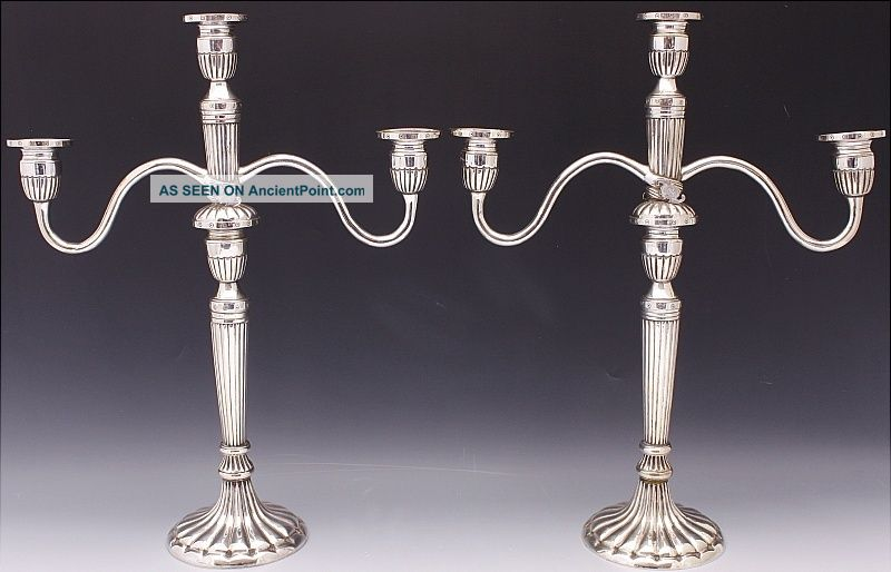 Ex.  Rare 19thc Chinese Qing Dynasty Silver Plate Silver 3 Arm Bat Candelabra Cand Candlesticks & Candelabra photo