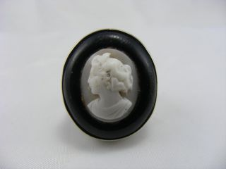 Antique Victorian Solid Silver Whitby Jet Carved Cameo Ring Size O photo