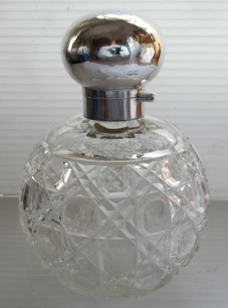 Hm Solid Sterling Silver & Crystal Large Flip Top Perfume Bottle - Chester 1912 photo