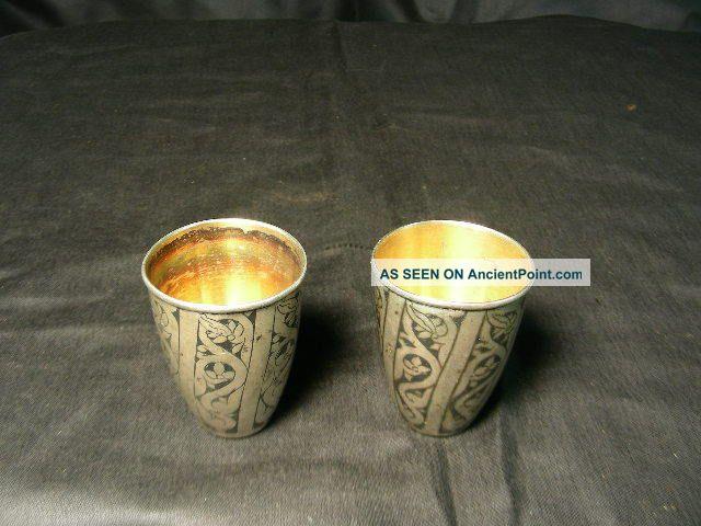 2 Early Russian Gniello Silver Cups,  Hallmarked,  875 Russia photo