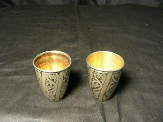 2 Early Russian Gniello Silver Cups,  Hallmarked,  875 photo