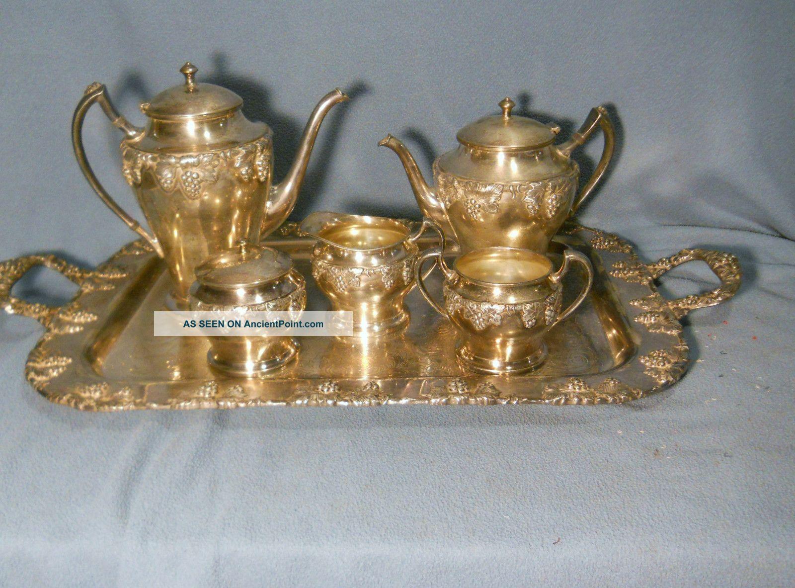 Vintage 6 Piece Complete (including Tray) Tea Set - Crescent Silverplate 5292 Tea/Coffee Pots & Sets photo