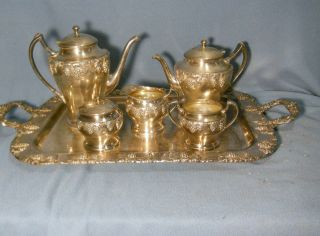 Vintage 6 Piece Complete (including Tray) Tea Set - Crescent Silverplate 5292 photo