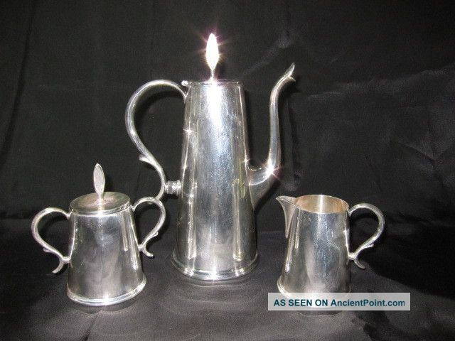 Great Vintage 3 Piece Wallace Town House Silver Coffee Pot Cream & Sugar Set Wallace photo