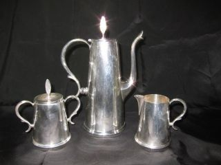 Great Vintage 3 Piece Wallace Town House Silver Coffee Pot Cream & Sugar Set photo