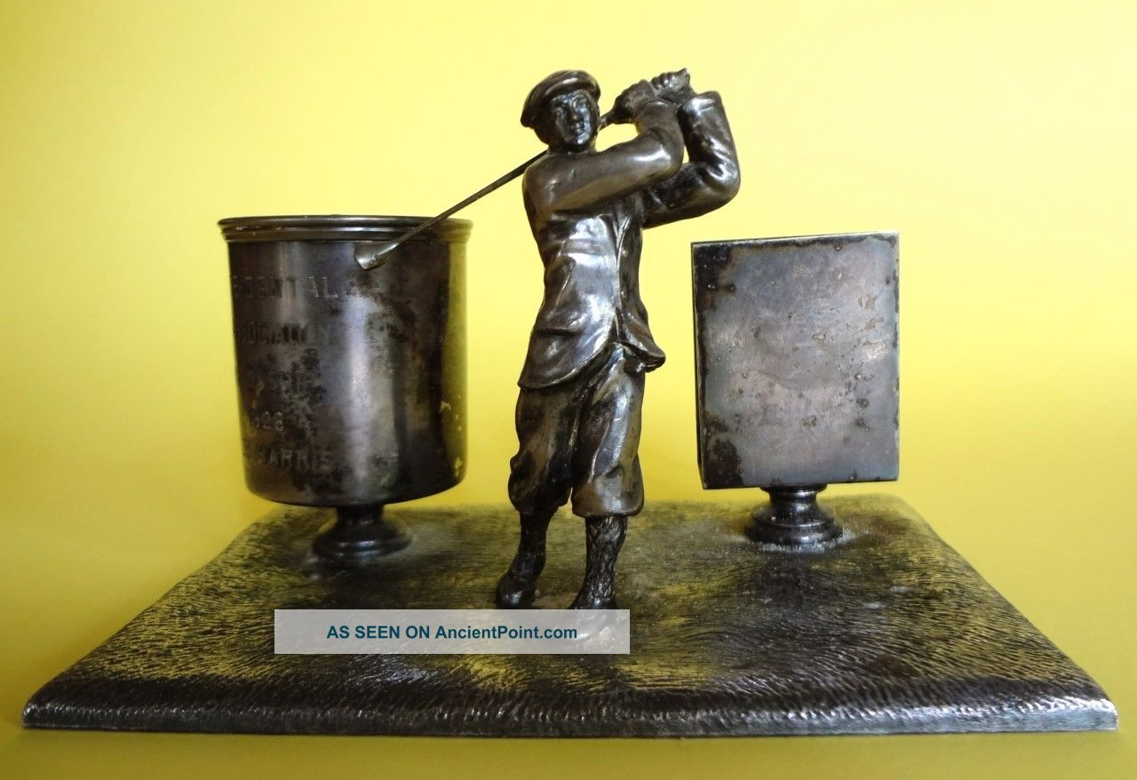 Antique Art Deco Wilcox Silver Plate Figural Golfer Trophy Match Holder Cup Set Other photo