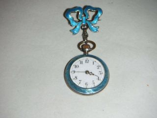Antique Blue Enamel Ladies Hanging Watch On Bow Brooch photo