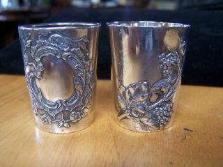 2 Antique.  800 German Sterling Silver Repousse Shot Cups Glasses 30.  4 Grams photo