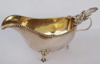 Antique English? Victorian Sterling Silver Sauce Boat Bowl Ornate Floral Decor photo