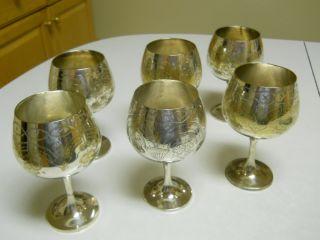 Set Of 6 Vintage Antique Silver Goblets Cups photo