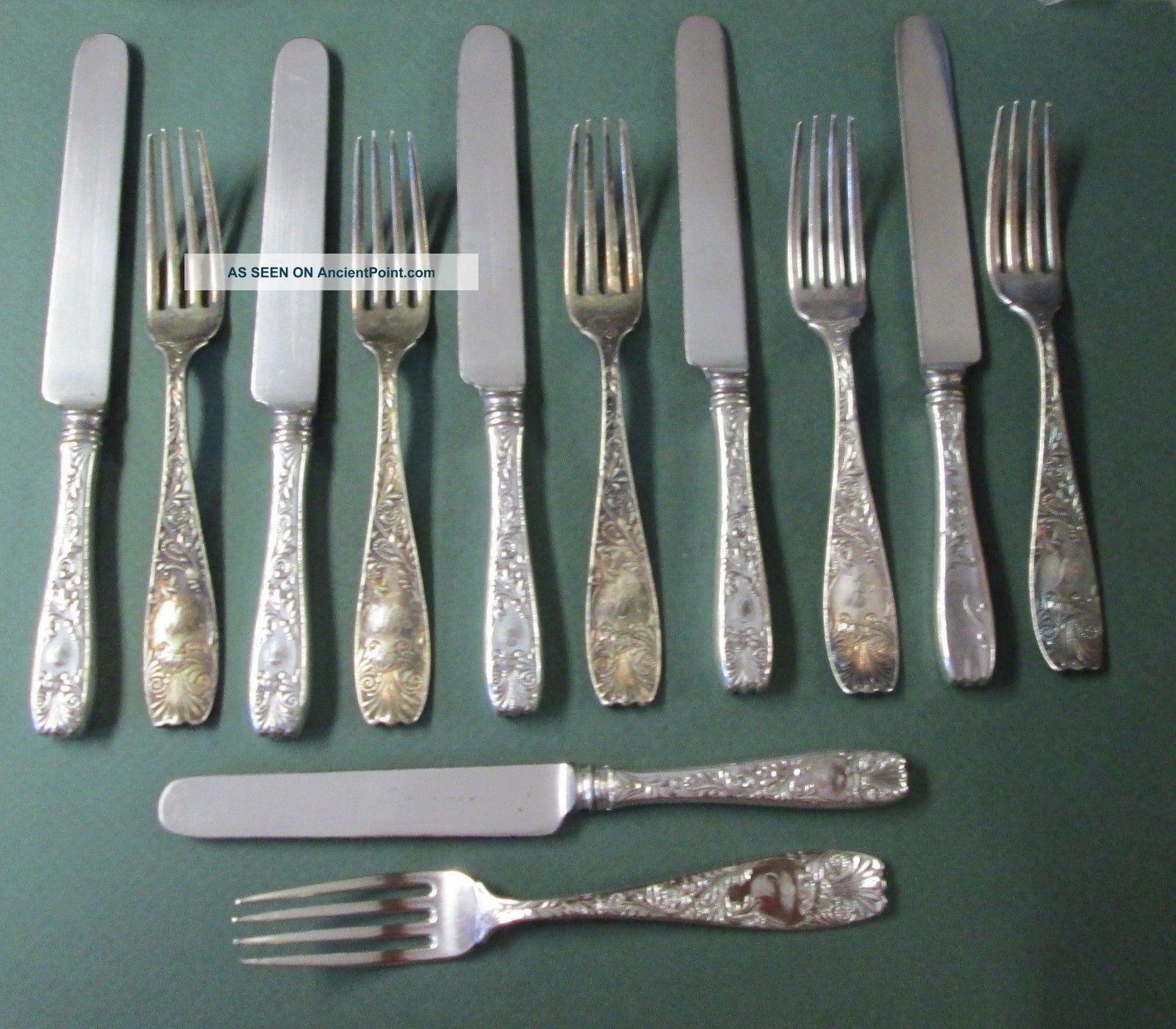 Antique Ornate Victorian Silver 6 Knives & 6 Forks & Royal Gorham 1887 Other photo
