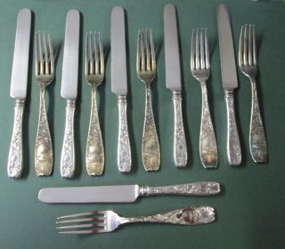 Antique Ornate Victorian Silver 6 Knives & 6 Forks & Royal Gorham 1887 photo