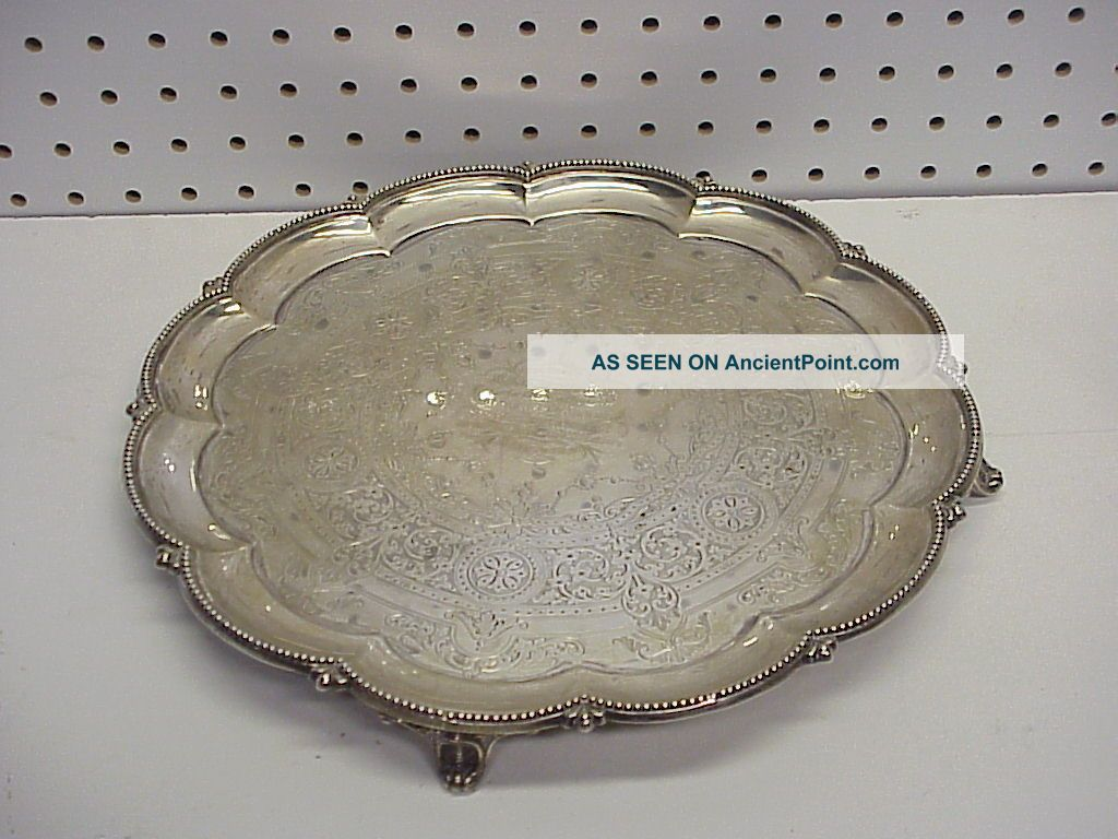 1870 English Sterling Silver 4 Footed Salver 12