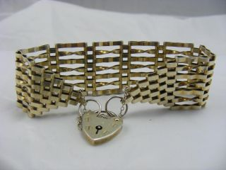Vintage Huge Solid Silver Gold Covered Gate Bracelet Big Size Wide. photo