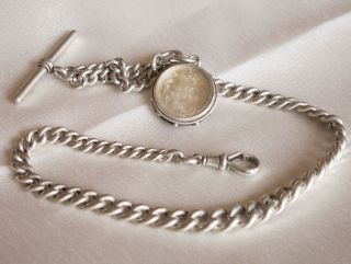 Antique Victorian Solid Silver Albert Pocket Watch Chain And Fob 49.  7gms 1889 photo