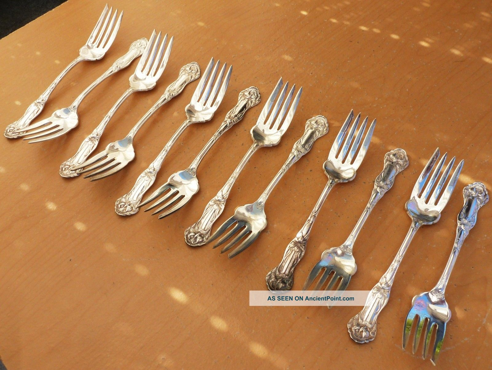 (12) 1880 Williams Brothers Mfg.  Co.  Silverplate Salad Forks,  Daffodil,  Stunning Other photo