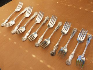 (12) 1880 Williams Brothers Mfg.  Co.  Silverplate Salad Forks,  Daffodil,  Stunning photo