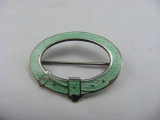 Antique Full Uk Hm Solid Silver Green Gullioche Enamel Pin Brooch Belt Buckle photo