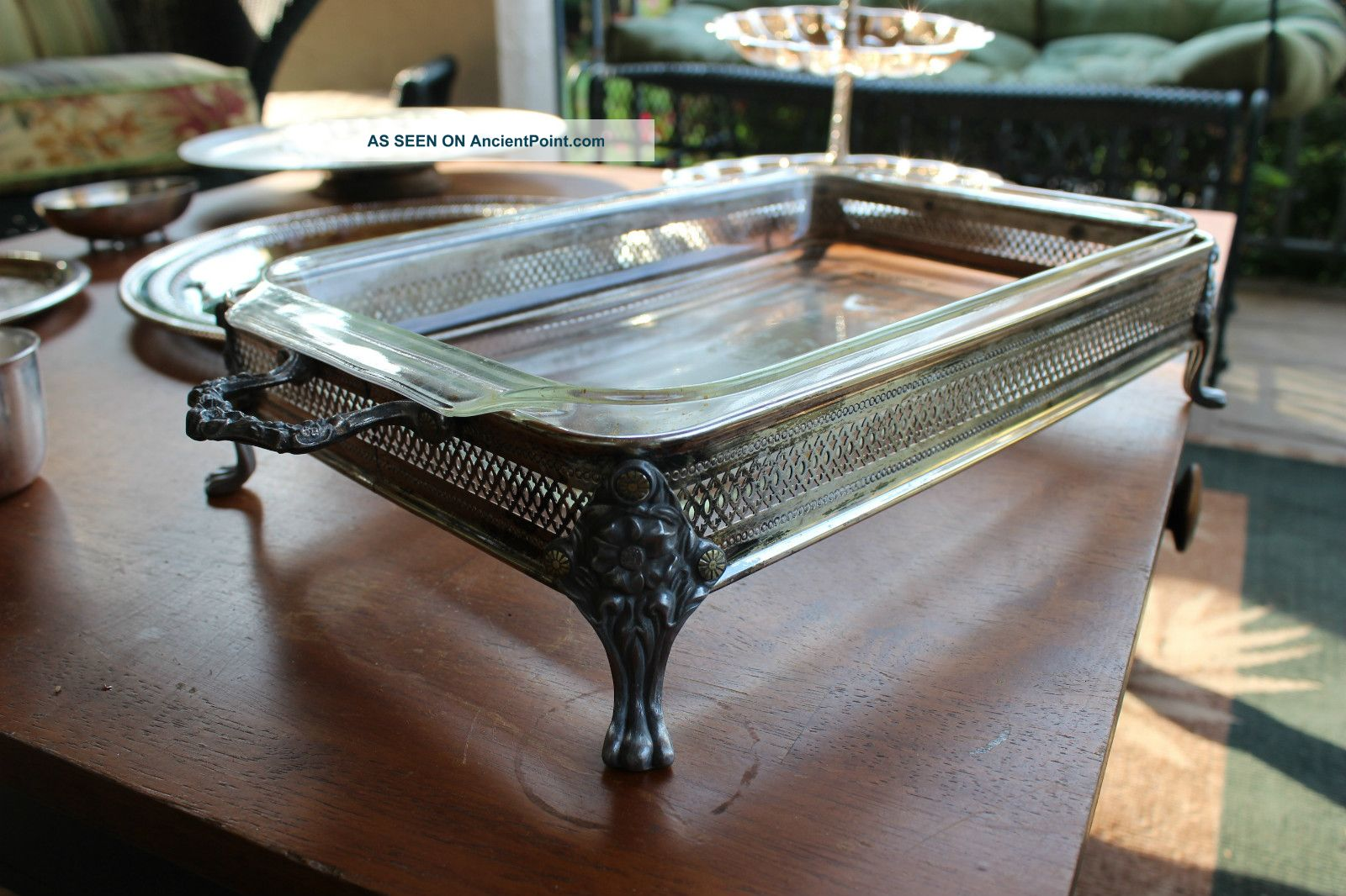 Antique Pyrex Silver Serving Tray Platters & Trays photo