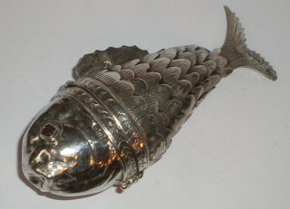 1896 Hm Silver Novelty Articulated Fish Spice Box Snuff Judaica Antique Nr photo