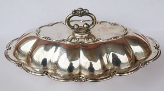 Antique Art Nouveau Deco Italian Silver Covered Tureen Serving Entree Dish Bowl photo
