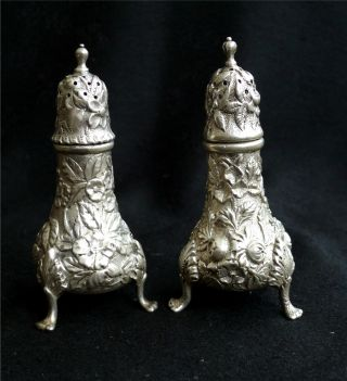 S.  Kirk & Son Sterling Silver Repousse Salt & Pepper Shakers Mono photo