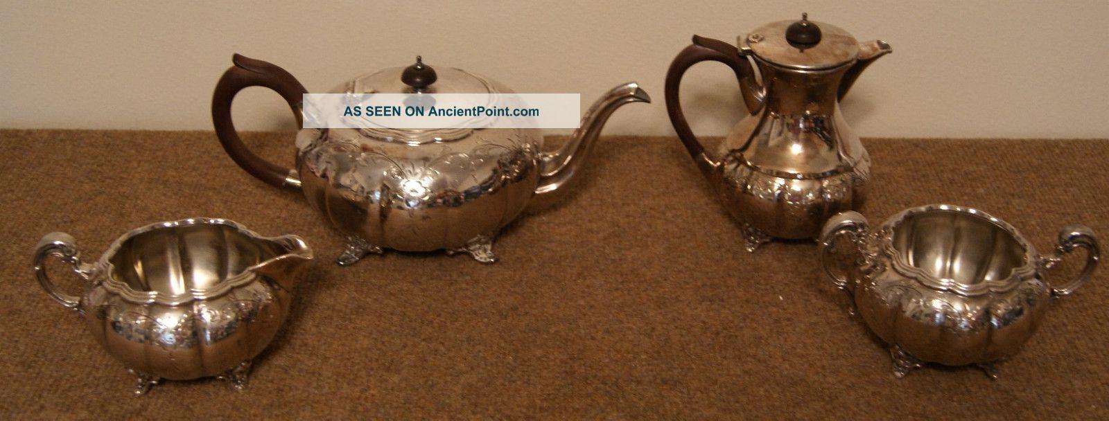 Silver Plate Victorian Teapot Coffee Pot Creamer Sugar Set Flower Etched Epbm Tea/Coffee Pots & Sets photo