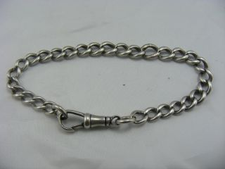 Antique Victorian Solid Silver Chain Link Bracelet With Watch Chain Style Clasp photo