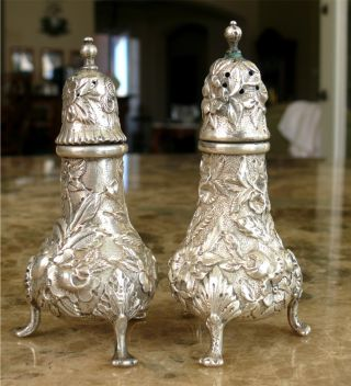 S.  Kirk & Son Sterling Silver Repousse Salt & Pepper Shakers 1 Hidden Mono photo