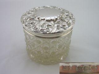 Vintage Silver Vanity Jar - Birm 1913 - Charles May photo