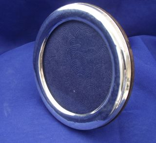 Silver Circular Picture Frame.  Easel Type Stand.  Stamped 925.  (7.  5cm X 5.  5cm) photo