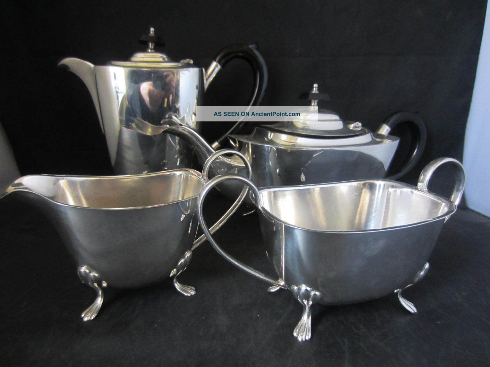 4 Piece Silver Plated Tea Set / Service - Water / Coffee Pot Teapot Jug & Bowl Tea/Coffee Pots & Sets photo