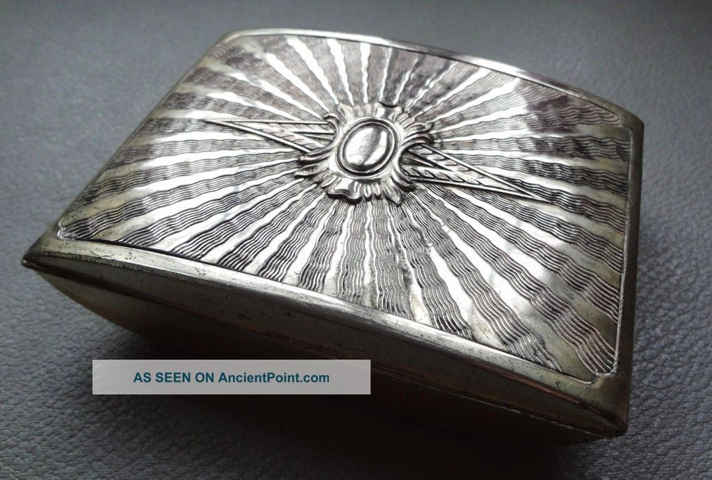 Vintage Art Deco Embossed Starburst Trinket Box Jewllery Casket Silver Plated Boxes photo