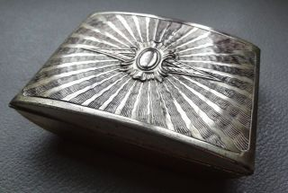 Vintage Art Deco Embossed Starburst Trinket Box Jewllery Casket Silver Plated photo