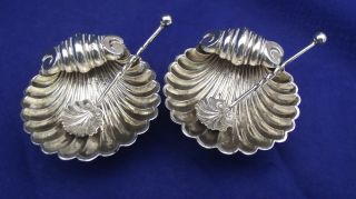 Antique Sterling Silver Pair Of Shell Shaped Salts With Shell Shape Spoons photo