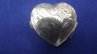 Gorgeous Heart Shaped Sterling Silver Pill Box photo