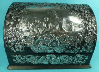 Art Nouveau Sterling Silver Leather Stationery Letter Box William Comyns 1901 photo