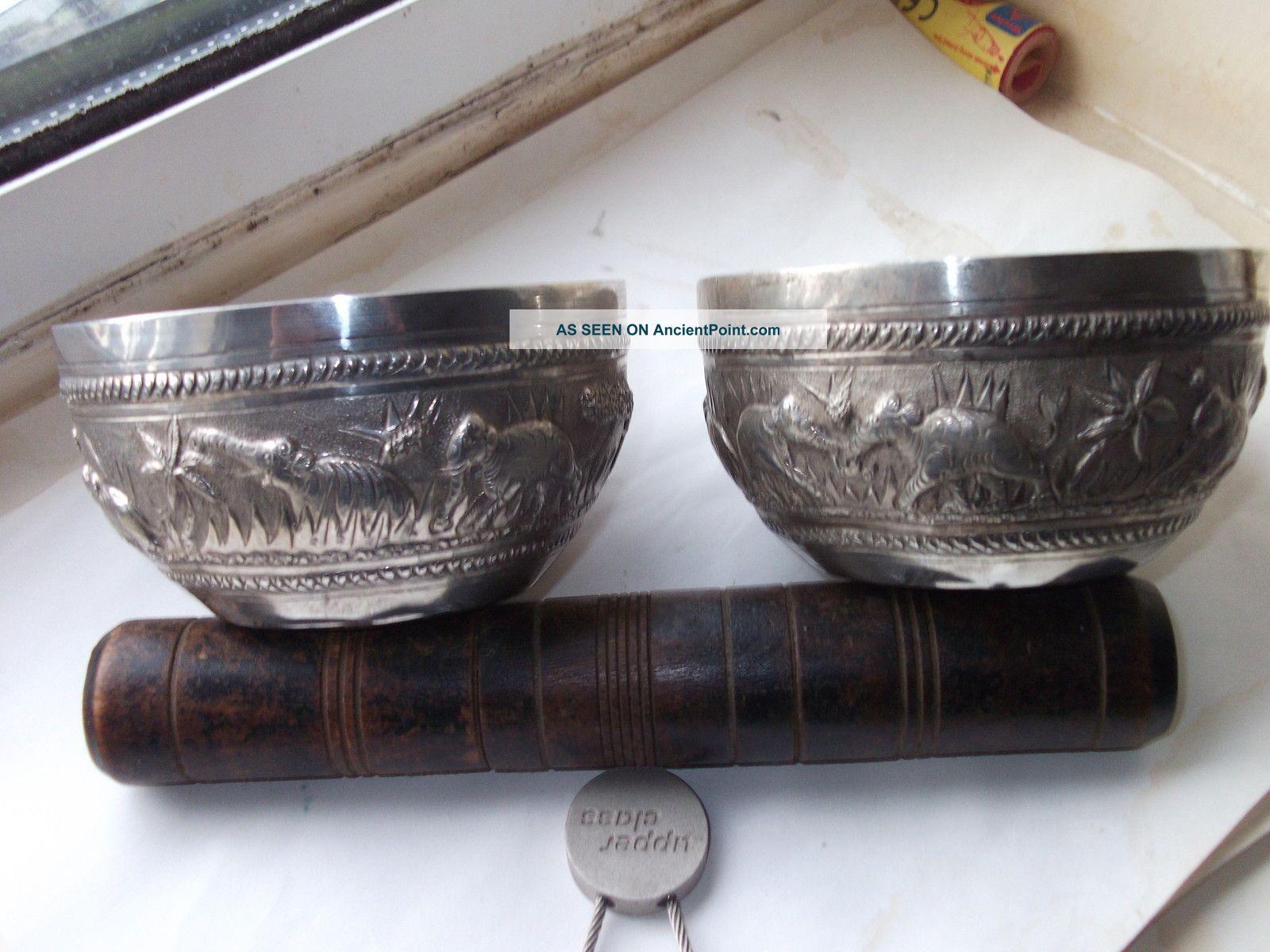 Fine 19c Pair Of Silver Repousse India Burmese 4 Inch Bowls Elephant Designs Bowls photo