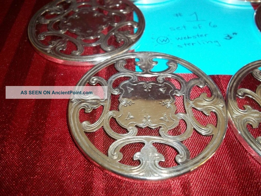 6 Sterling Silver Coasters, ,  Unusual Heavy,  Vintage,  Vgc,  L@@k 1 Dishes & Coasters photo