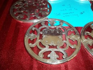 6 Sterling Silver Coasters, ,  Unusual Heavy,  Vintage,  Vgc,  L@@k 1 photo