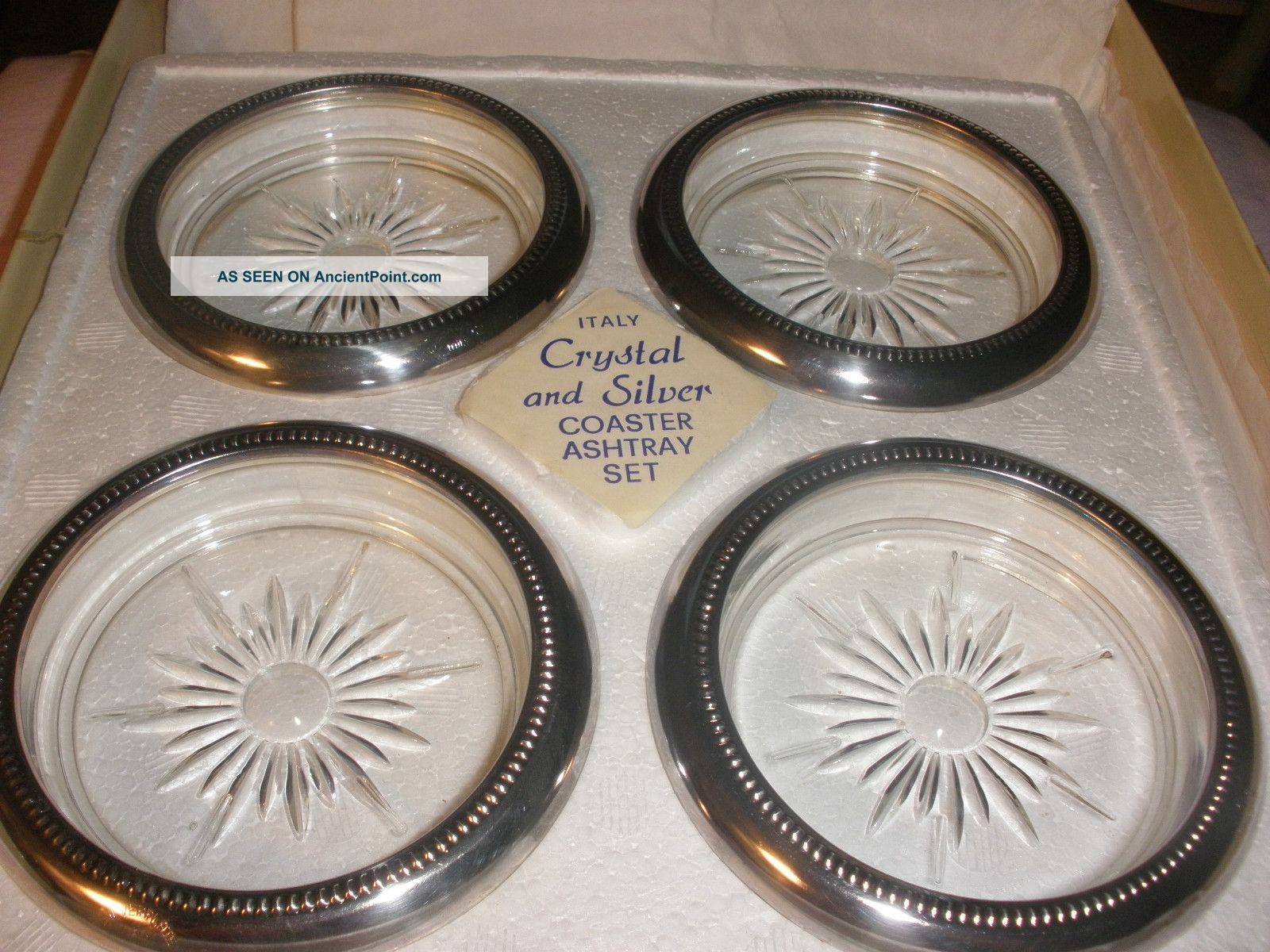 Vintage Nib Neiman - Marcus Crystal & Italian Silverplate Coasters Dishes & Coasters photo