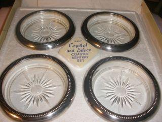 Vintage Nib Neiman - Marcus Crystal & Italian Silverplate Coasters photo