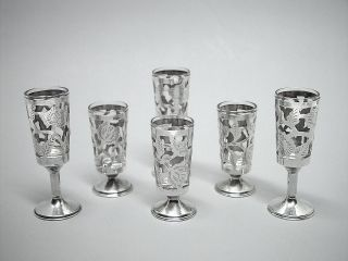 6 Vtg Sterling Silver & Glass Cordial Apertif Shot Glasses Mexico photo