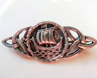 Iona - John Hart 1956 Solid Silver Celtic Boat / Ship Brooch photo