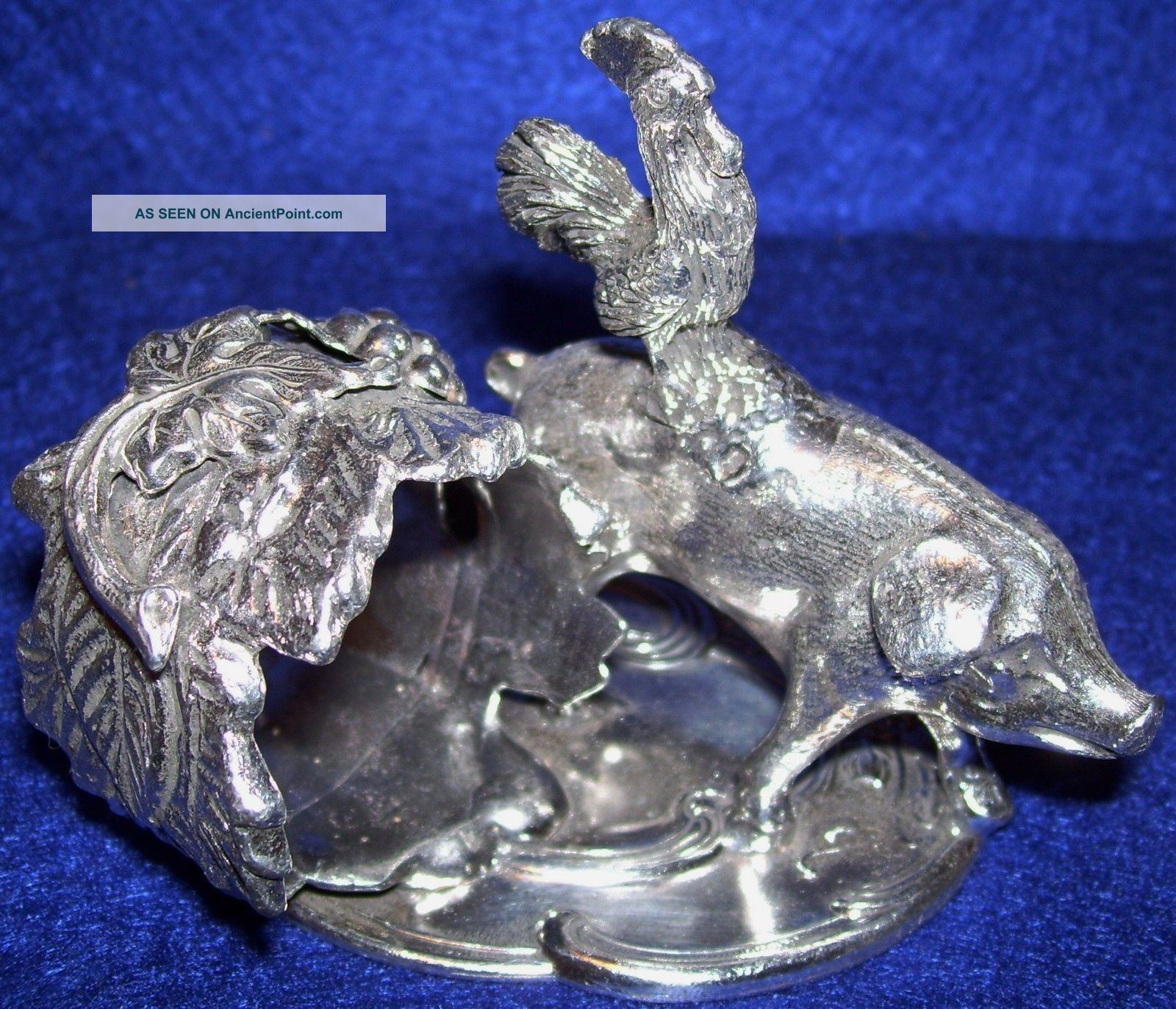 Silver Plated Figural Napkin Ring Barn Yard Rooster Stop A Pig Other photo
